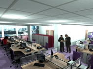 Realistic render of redesigned office